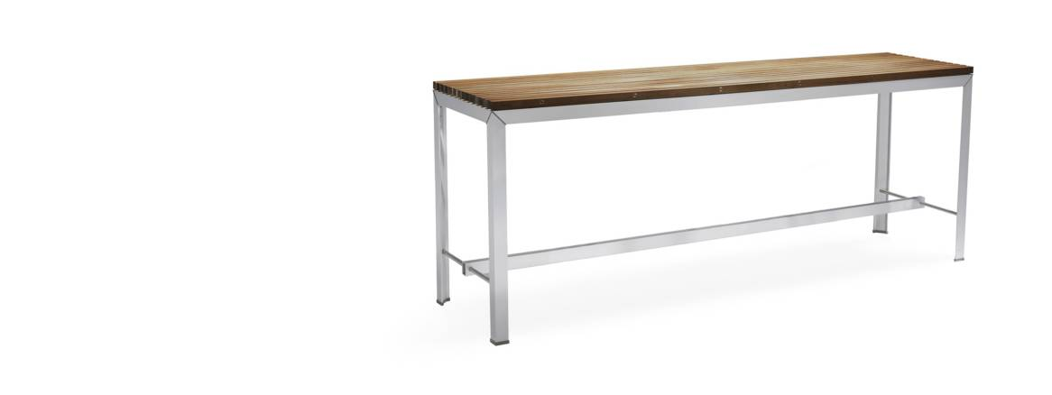 extremis extempore high table with brushed metal base and wood slat top