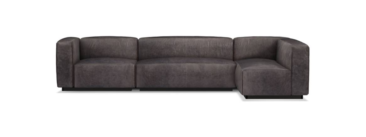 Blu Dot Cleon Medium+ Leather Sectional Sofa On White