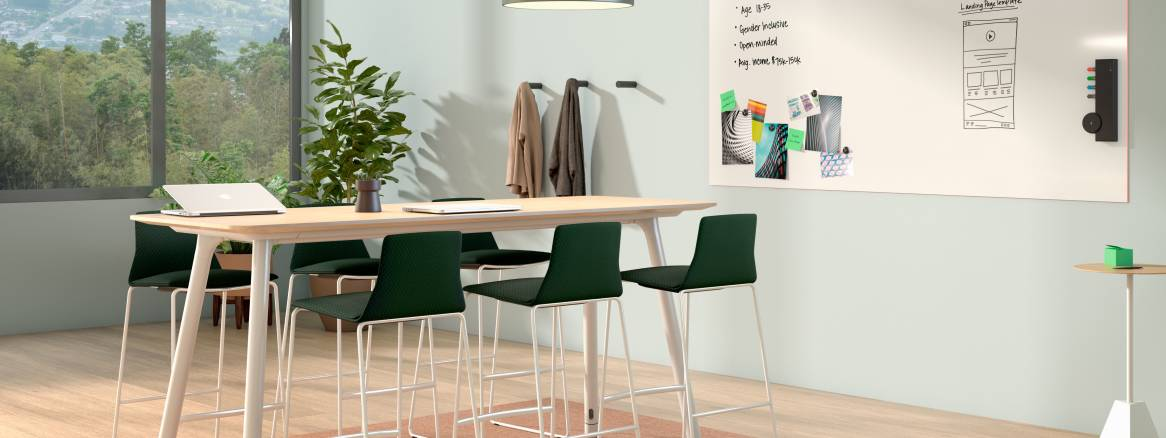 Rendering of creative space with a white Sans Light whiteboard on the wall, green stools and a Potrero415 High Table.