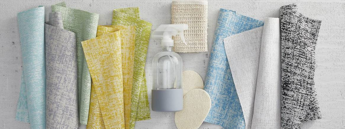 image showing stencil fabric with spray bottle