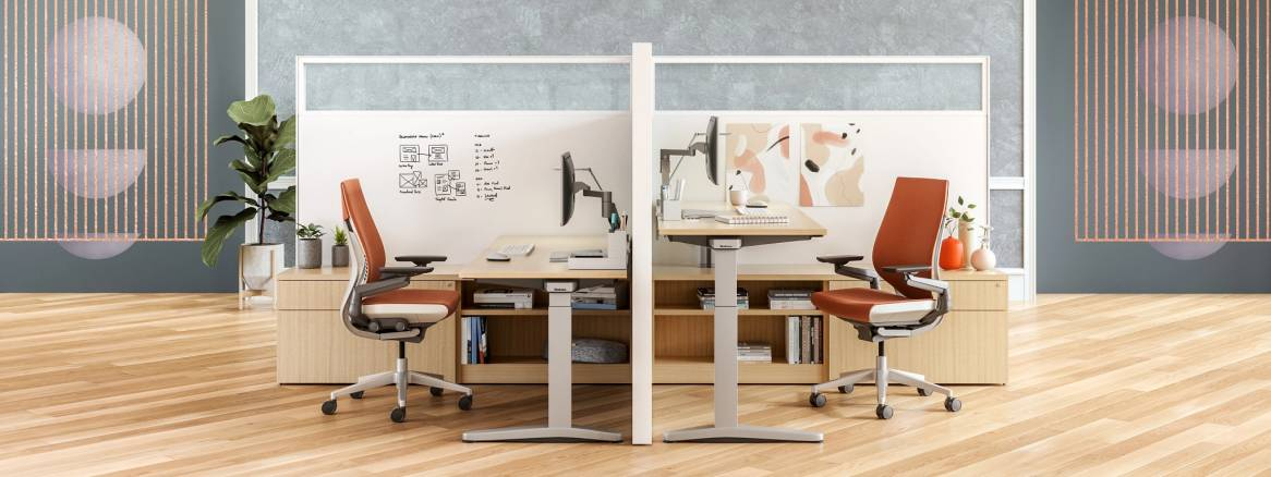 social workspace with two gesture chairs