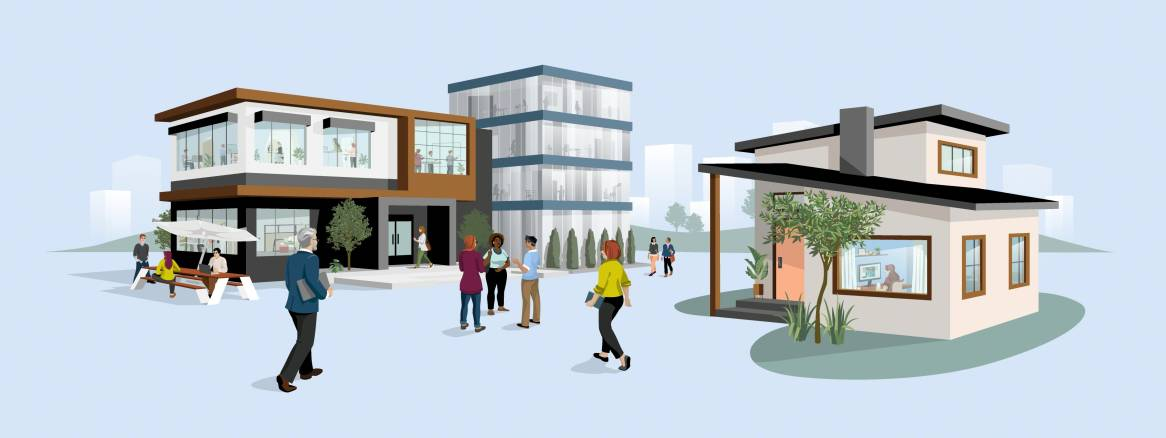Illustration of multiple buildings and people walking and talking outside of them.