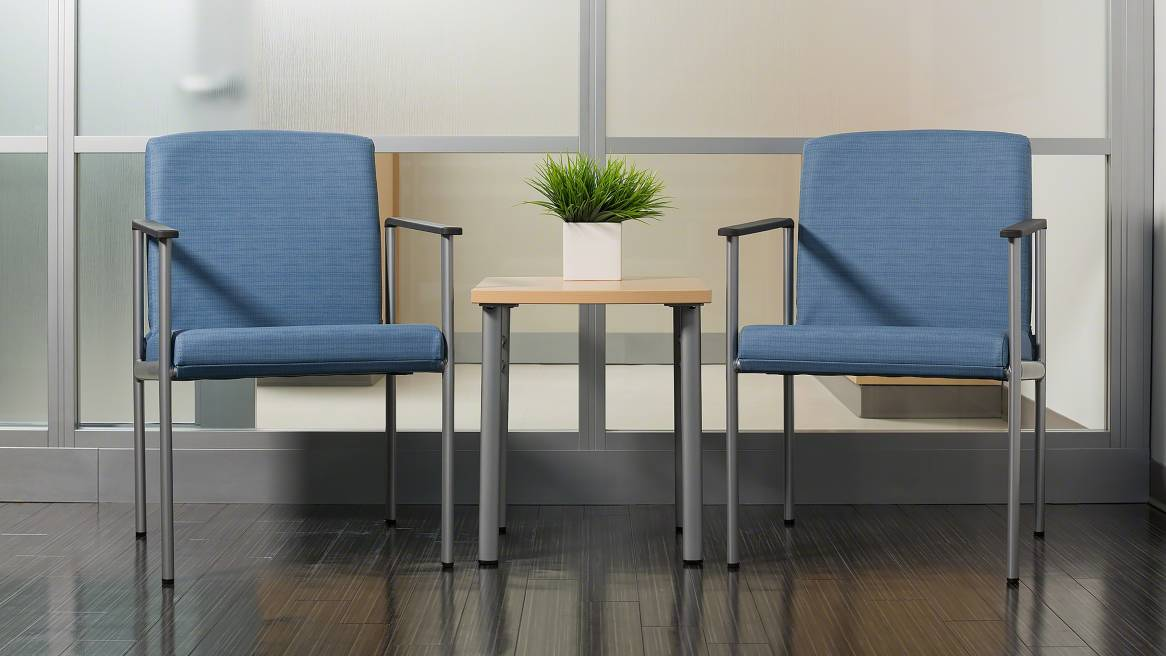2 Single-Seat Blue Aspekt Guest Chairs Environment