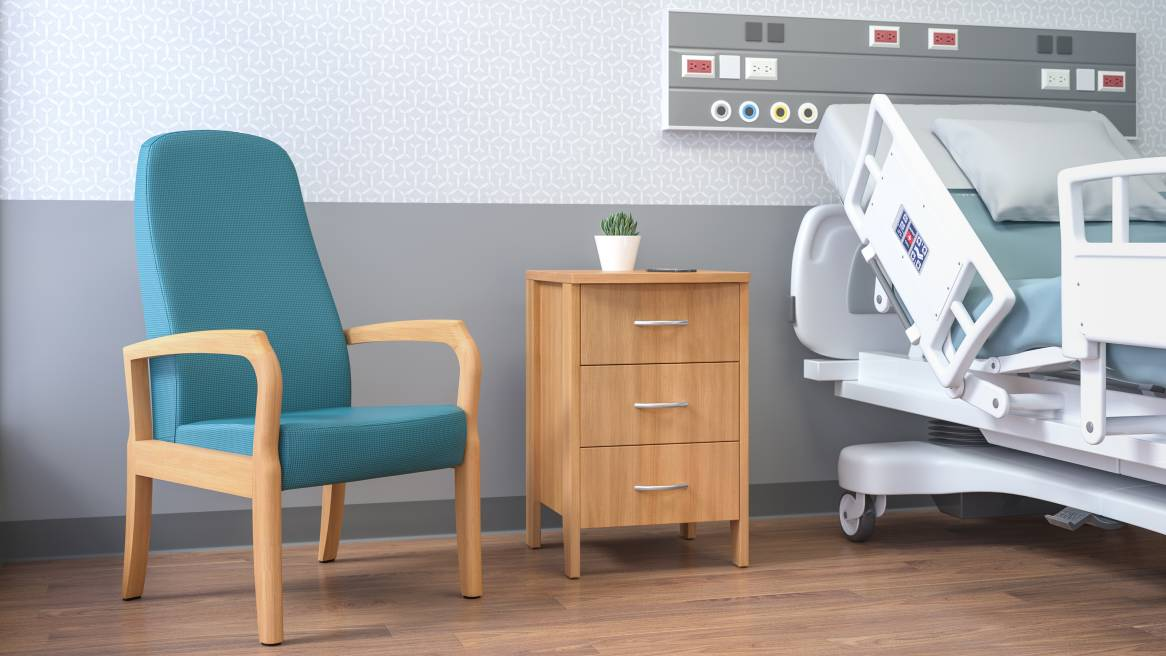 Davenport End Table in a medical room