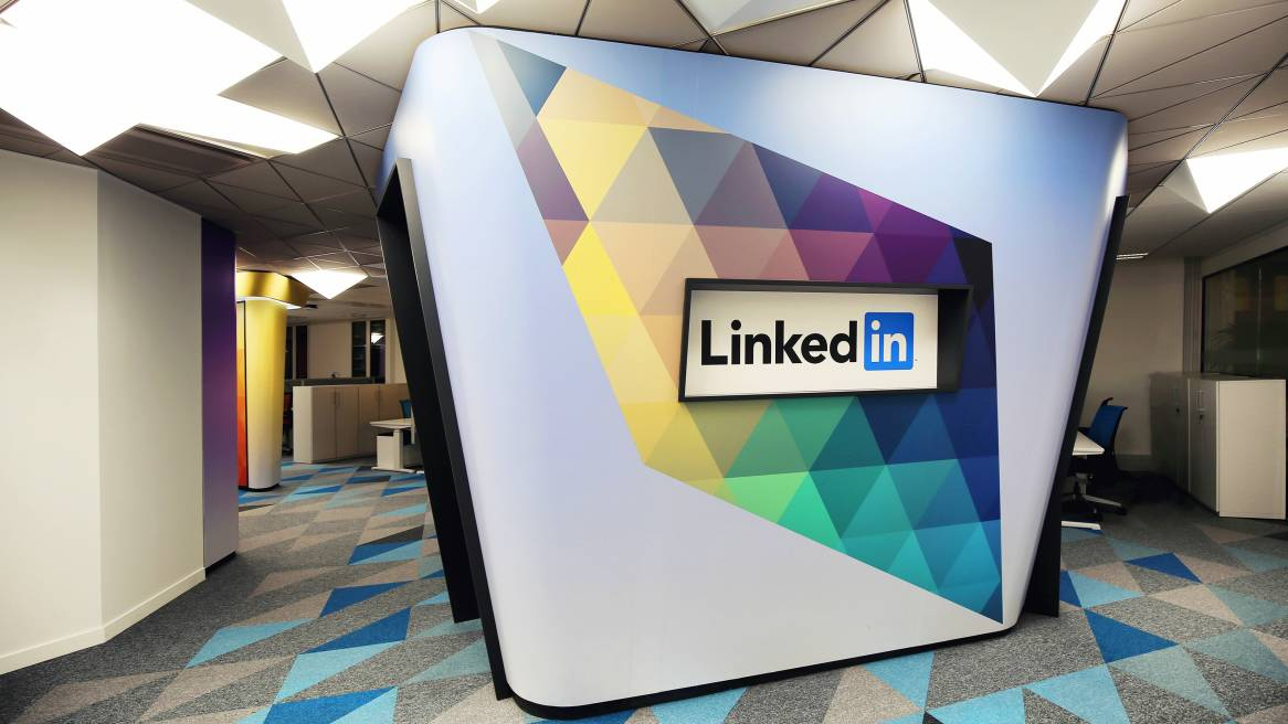 Open space with a big Linkedin logo
