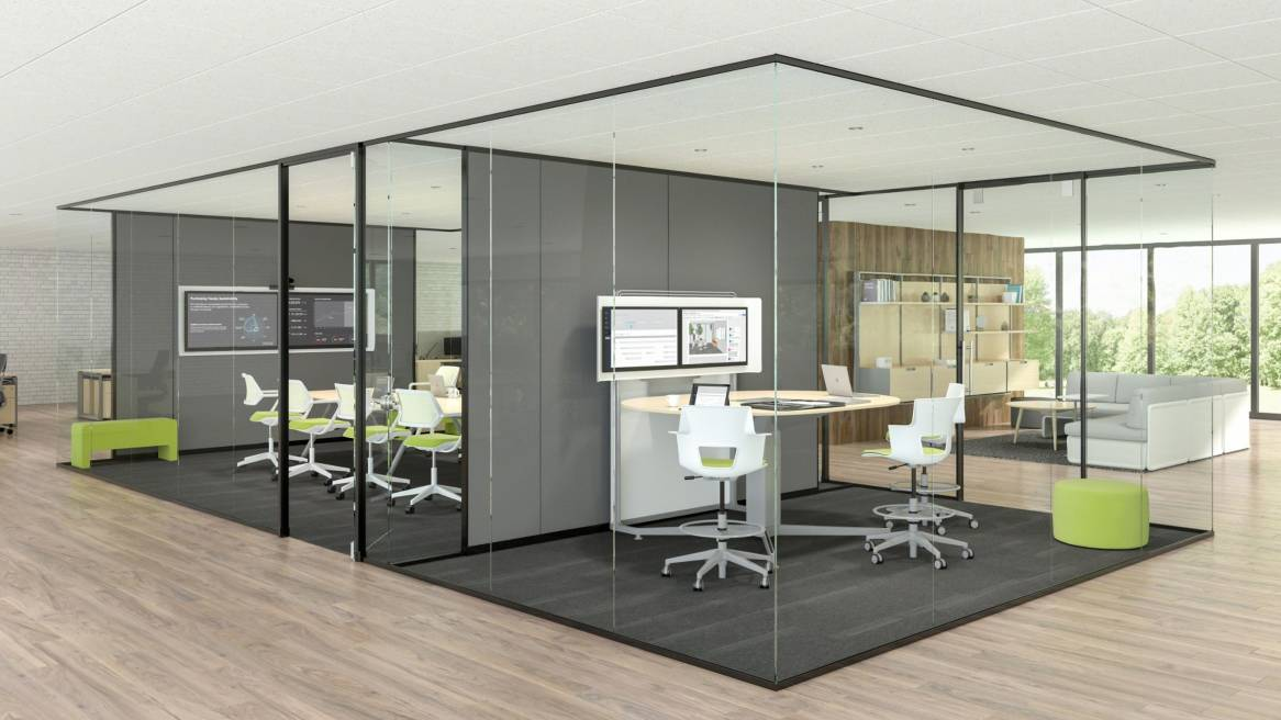 A rendering of two private meeting rooms with glass walls. One conference room features QiVi chairs, the other has Shortcut 5-Star base stool chairs. In the background, a Lagunitas lounge sofa is shown.