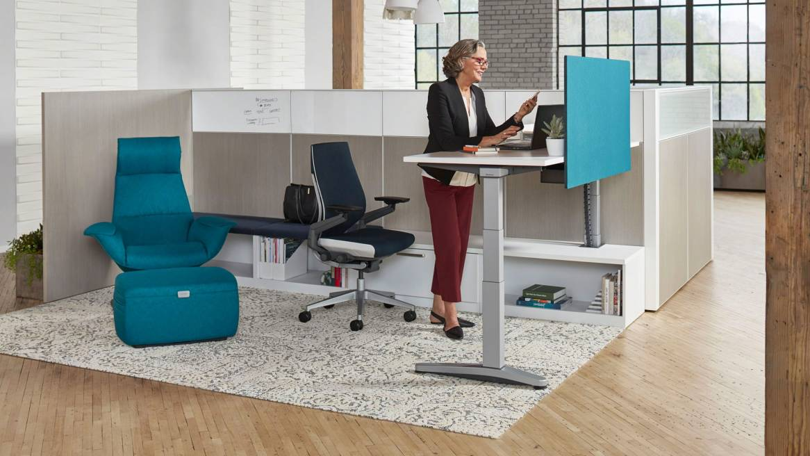 Ology Adjustable Height Computer Desk with Active Touch | Steelcase