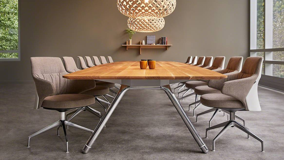 Massaud Conference chairs around a Potrero415 meeting table with custom wood top