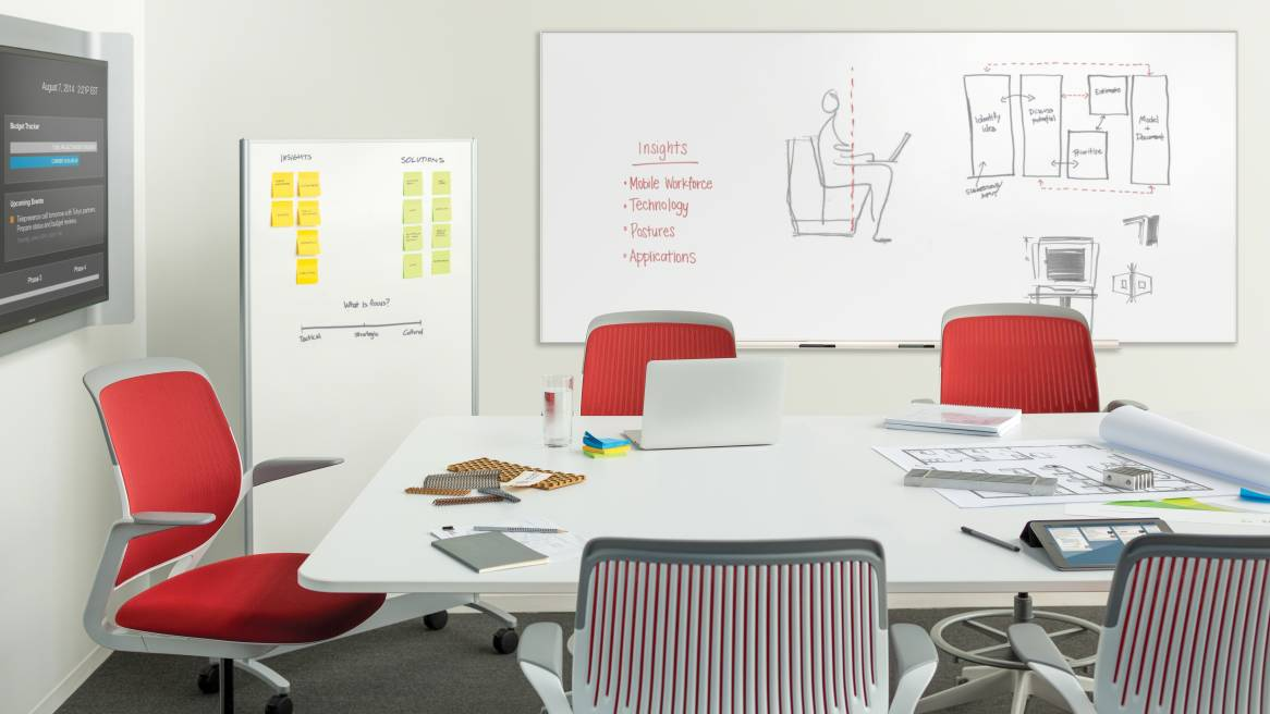 Meeting room with Cobi chairs, whiteboards and media:scape table
