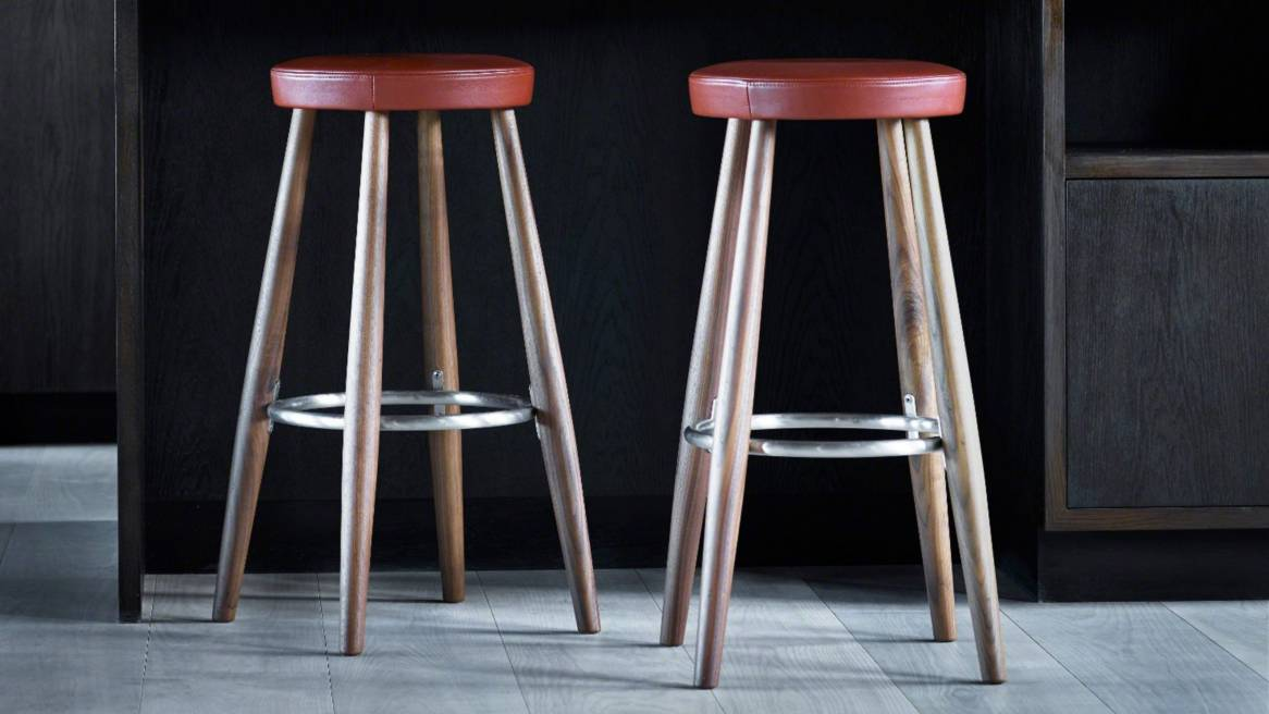 Two Carl Hansen & Son CH56 CH58 stools with wood legs and red upholstery