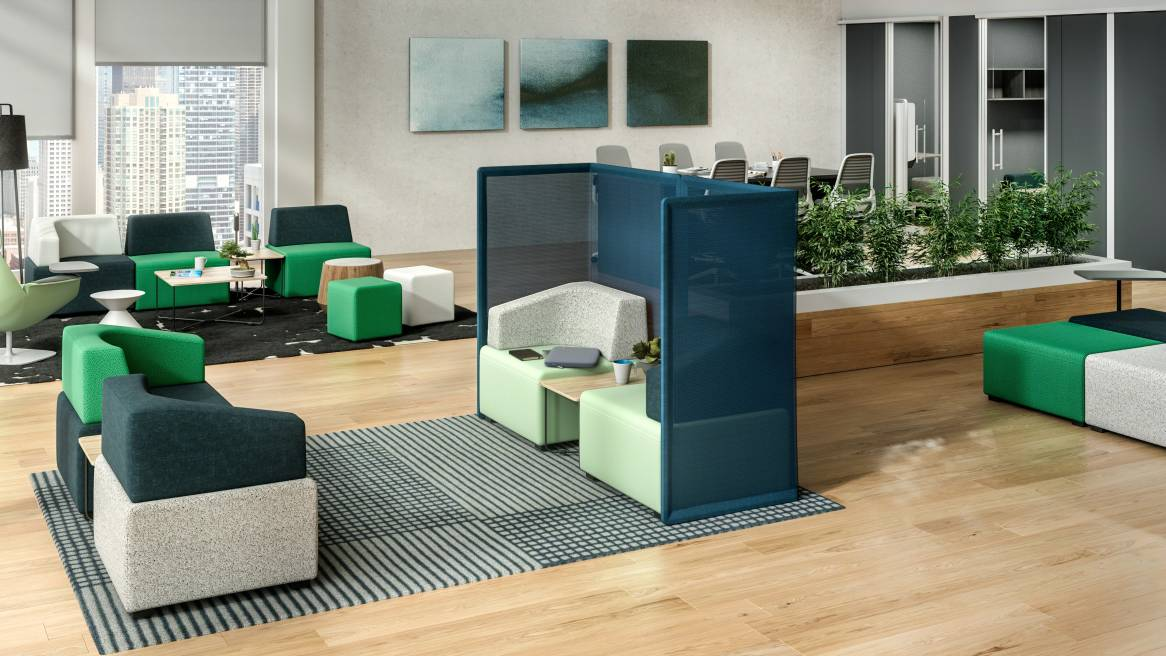Work setting displaying B-Free modular lounge furniture by Steelcase