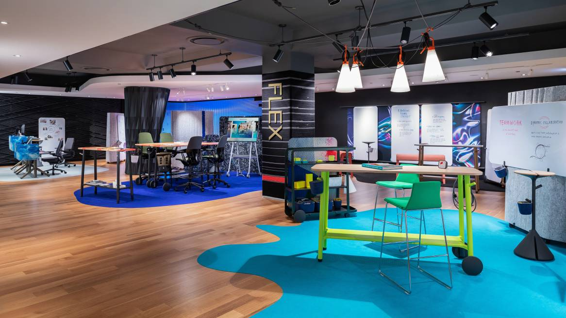 A collection of products from the Steelcase Flex Collection on display during NeoCon 2019