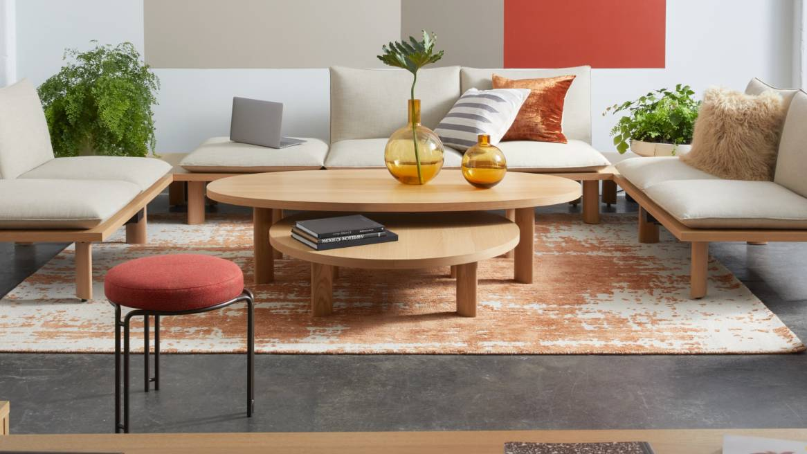 Office lounge setting with West Elm Work Boardwalk lounge seating