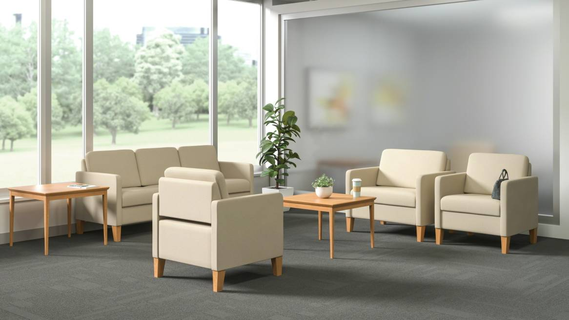 A collection of Sieste lounge seating products from Steelcase in a lounge setting