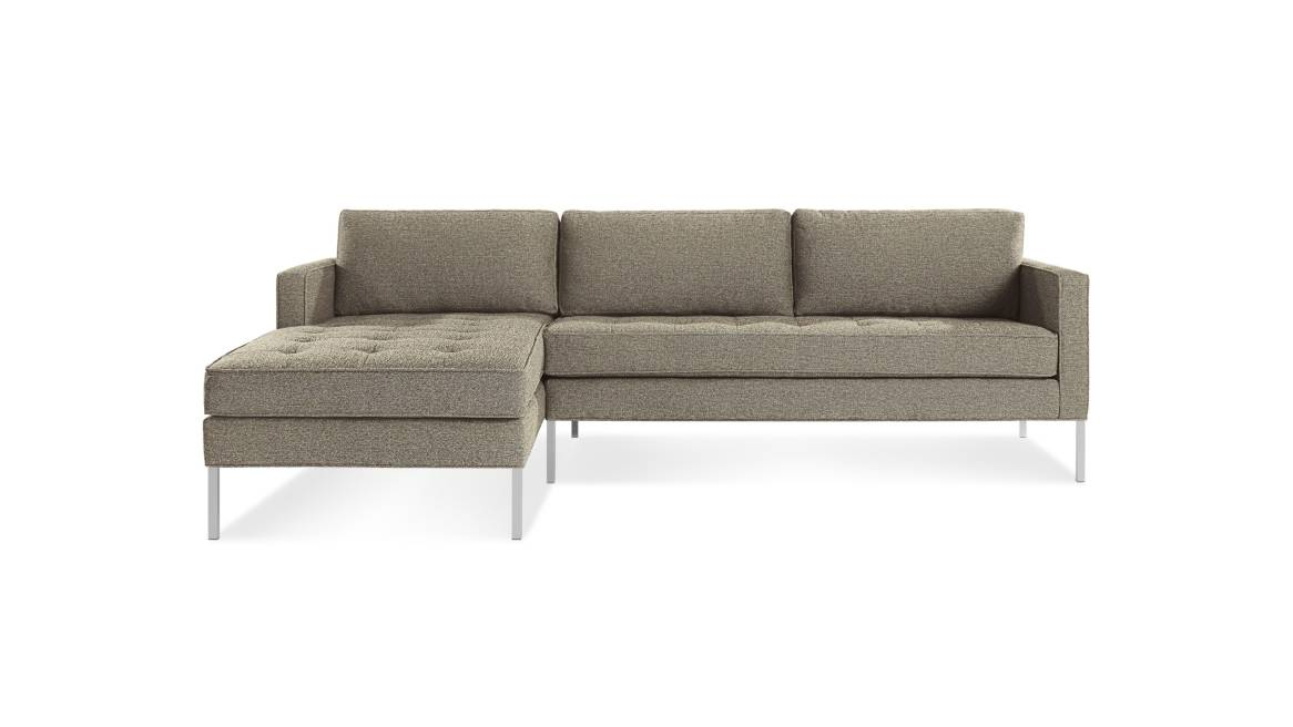 Blu Dot Paramount Sofa with Right Arm Chaise on white