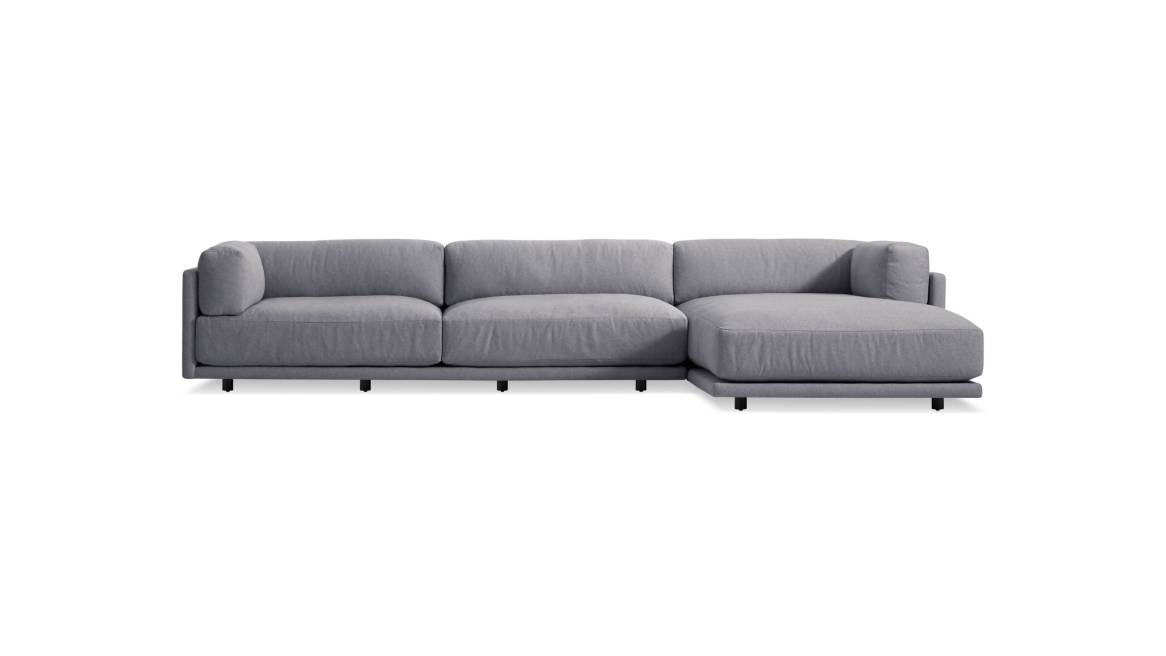Blu Dot Sunday Sofa with Chaise On White