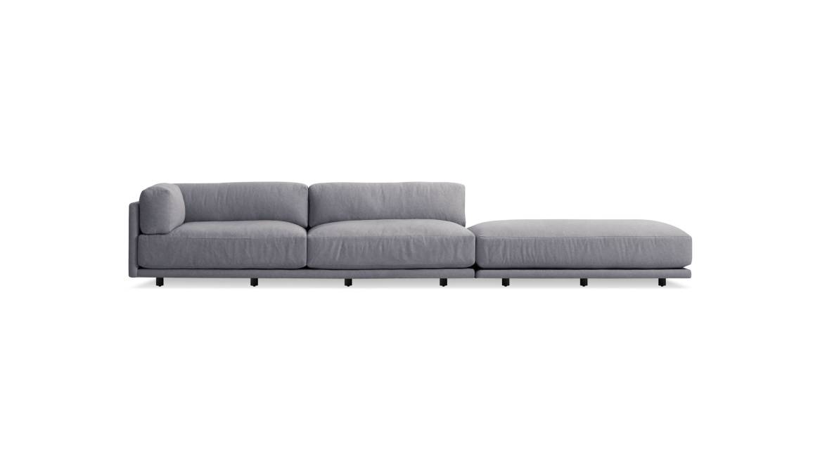 Blu Dot Sunday Long and Low Sectional Sofa On White