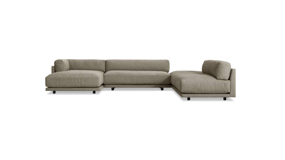 Blu Dot Sunday Backless L Sectional with Chaise On White