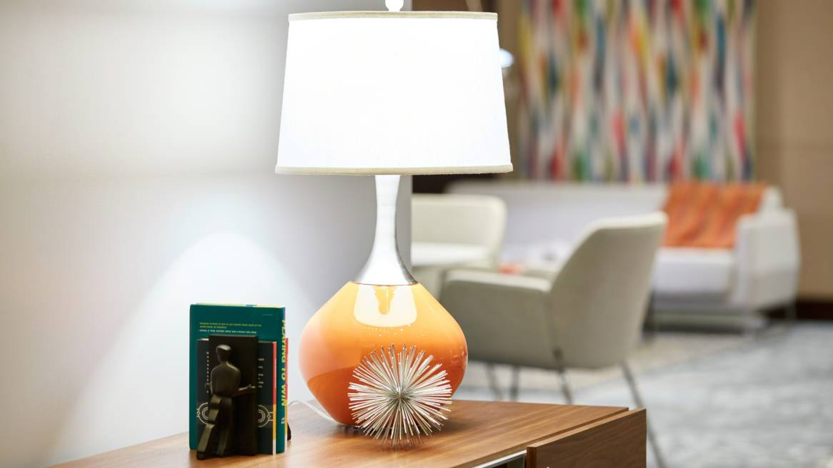 Lamp with orange base
