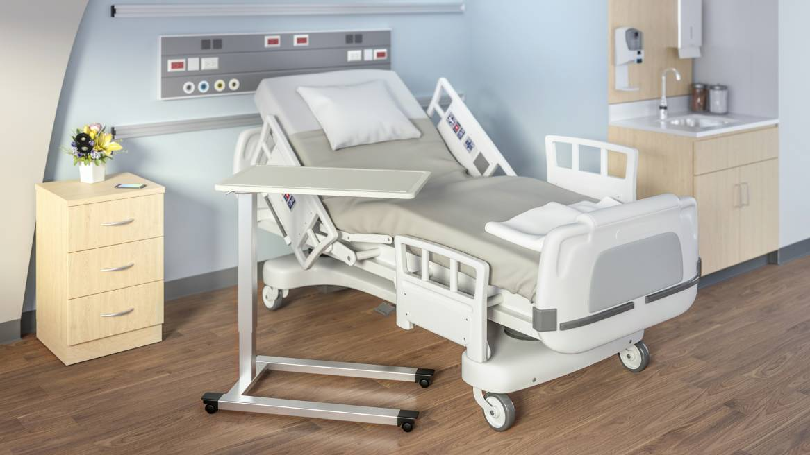 White, mobile overbed table in patient room setting