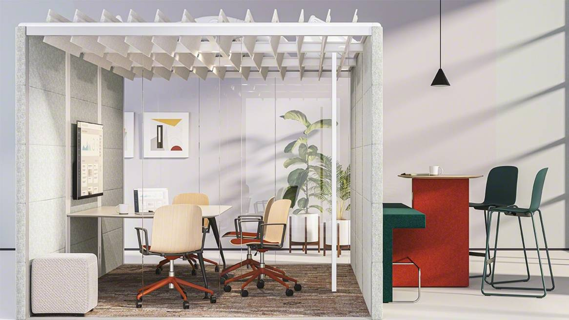 Conference room with Cavatina, B-Free Small Cube, Orangebox Border, Orangebox Air3 Pod
