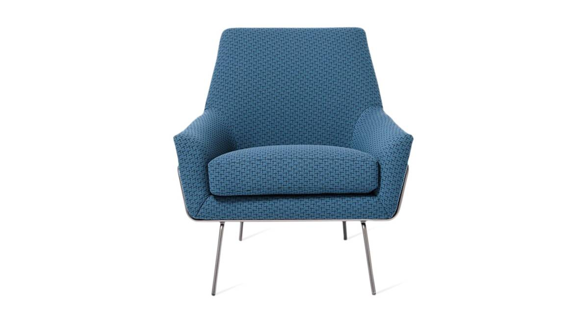 on-white image of a blue west elm Work Lucas Wire Chair