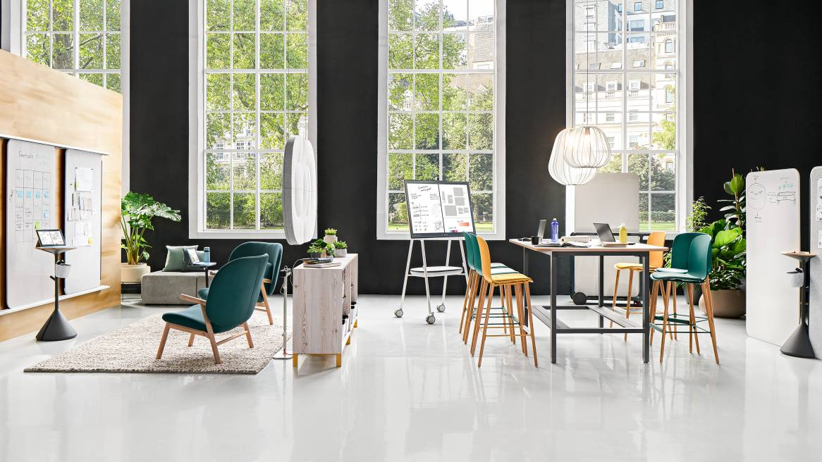 Agile Team Space with Share It, Truchet Acoustic Tiles, Acoustic Tiles, Steelcase Roam, Roam, FrameFour WorkBench