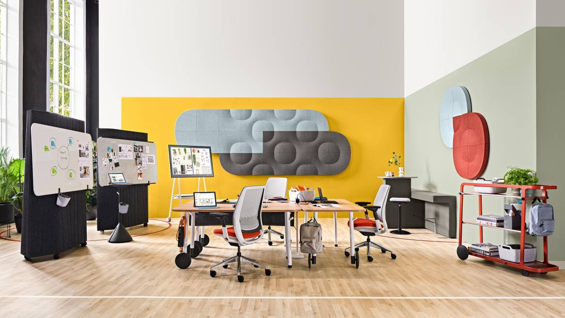 Creative Project Studio with Steelcase Flex Collection, Steelcase Series 2, Truchet Tiles, Acoustic Tiles, Orangebox Border