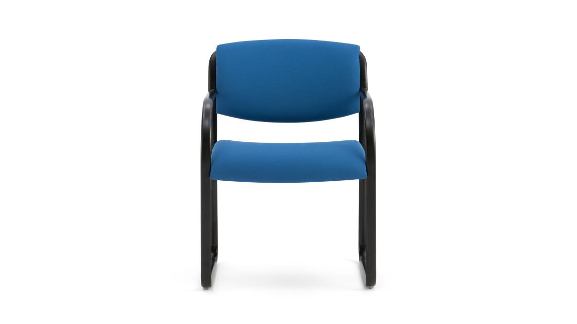 Blue Snodgrass Guest Chair with black metal frame on white background