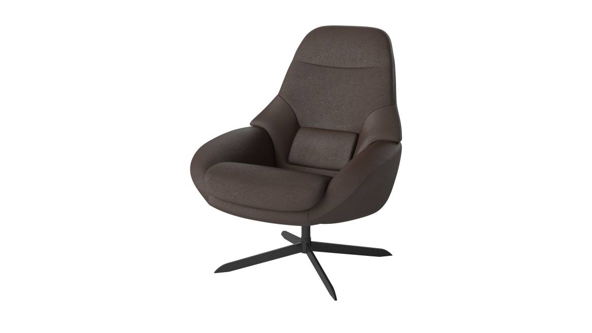 Saga armchair by Bolia with Quattro Brown fabric on white background