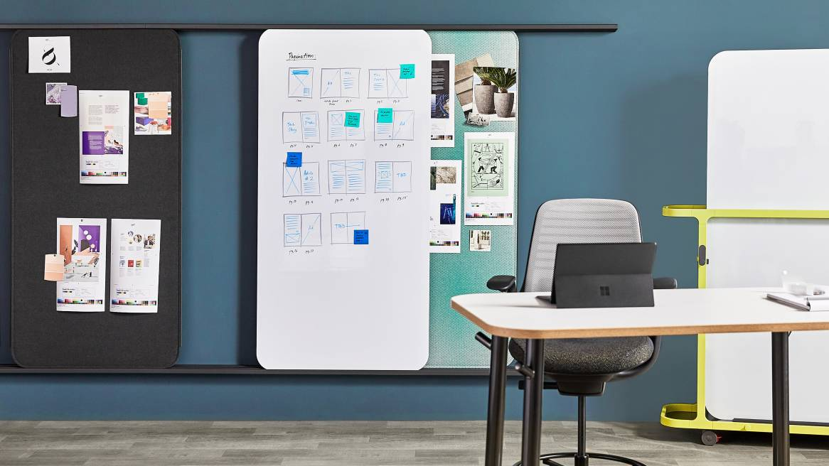 Steelcase Flex Markerboard Solutions arranges on a rail and on a Steelcase Flex Cart in an office space.