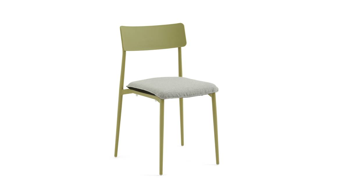 Turnstone Simple Chair in green with gray seat cushion