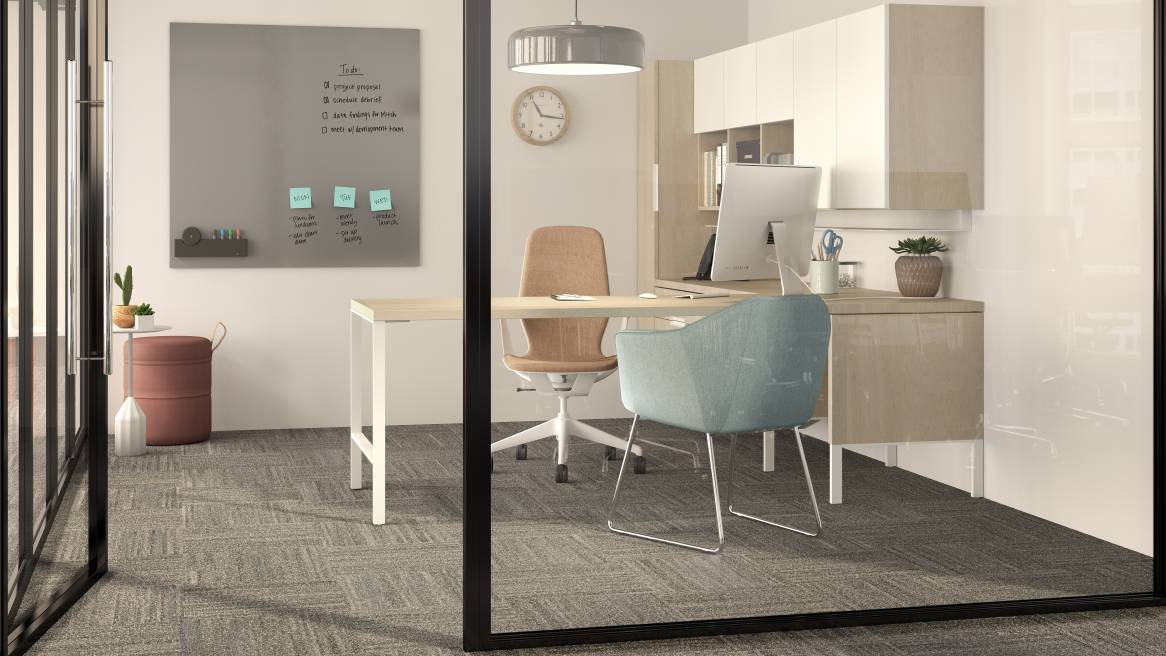 Rendering of a private office with a gray Sans™ markerboard on the wall, an orange Silq chair and a light blue guest chair.