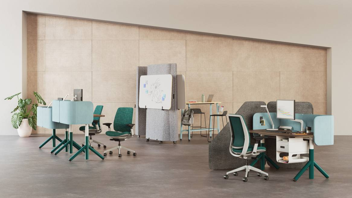 Series 2, Steelcase Flex Acoustic Boundary, Steelcase Flex Screens, Steelcase Flex Height-Adjustable Desk