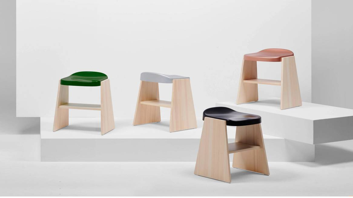 Mattiazzi Fronda Low Stools with Natural Pine Base and a color variety of seats.