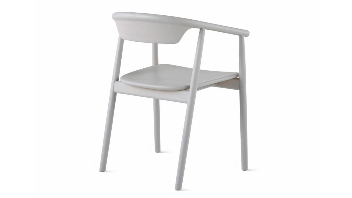 Back view of a gray Leva Armchair by Mattiazzi on white background.