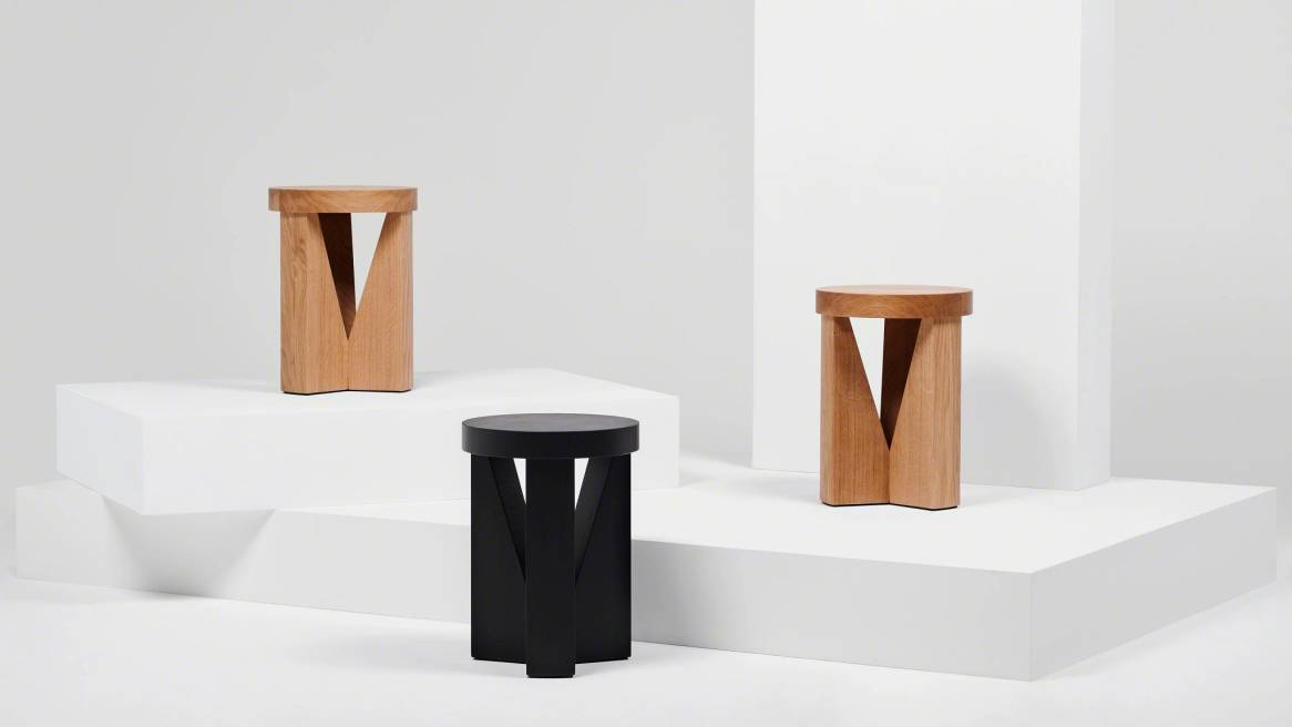 three cugino stools in different colors