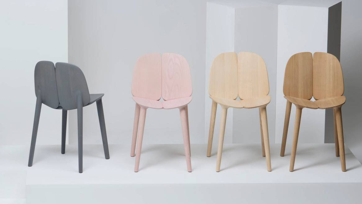 Mattiazzi Osso Chairs on gray, light pink and natural ash colors.