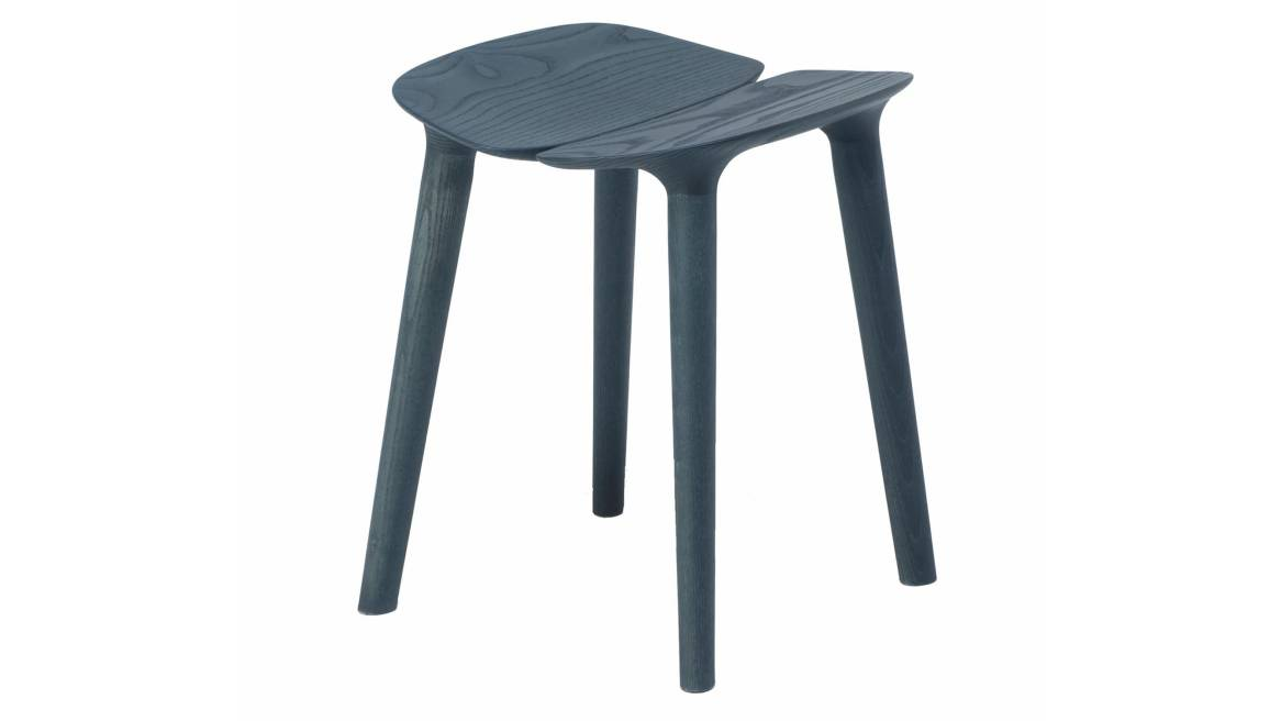 A blue ash Osso Low Stool by Mattiazzi on white background