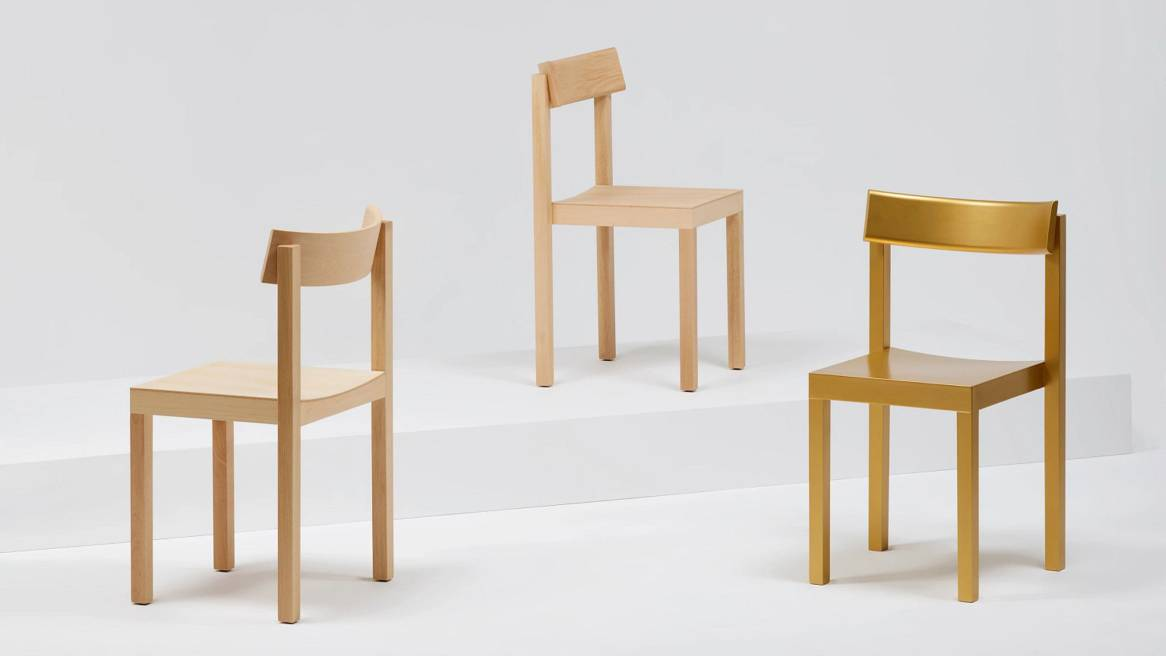 Mattiazzi Primo Chairs in Natural Beech, Gold Beech and Natural Oak.