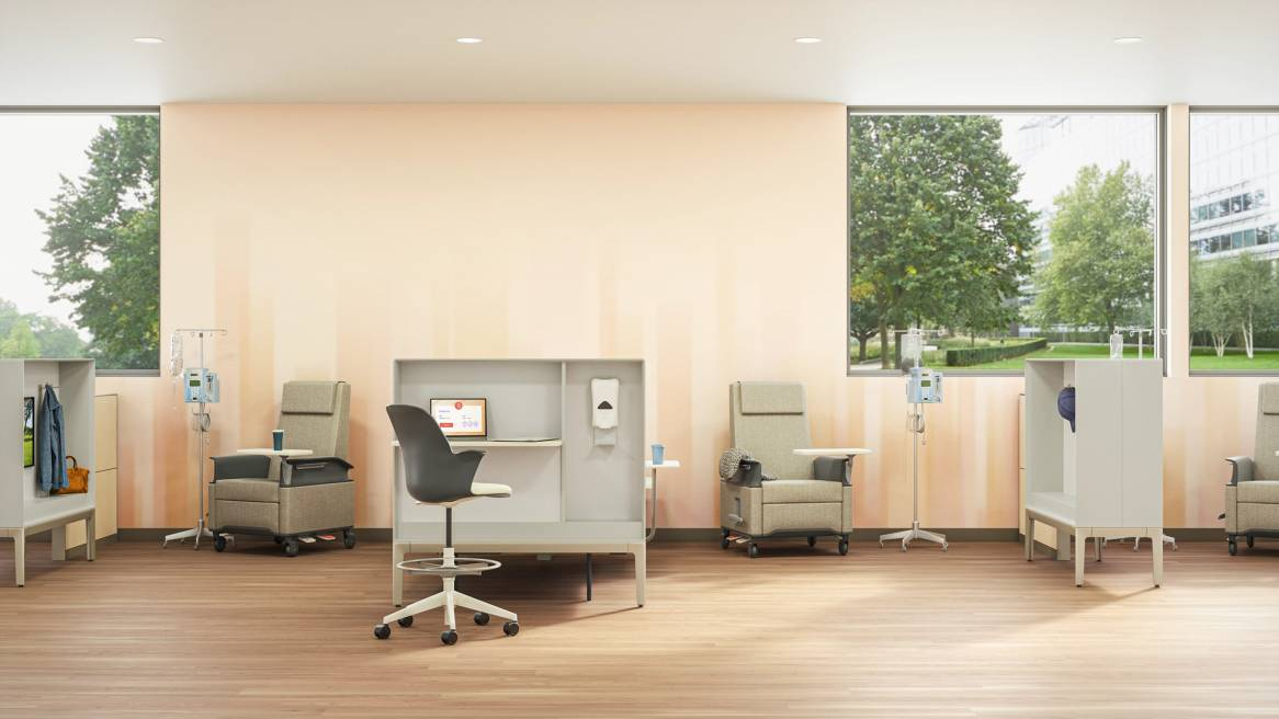 medical exam space with Node stools, Empath chairs and IV medicine