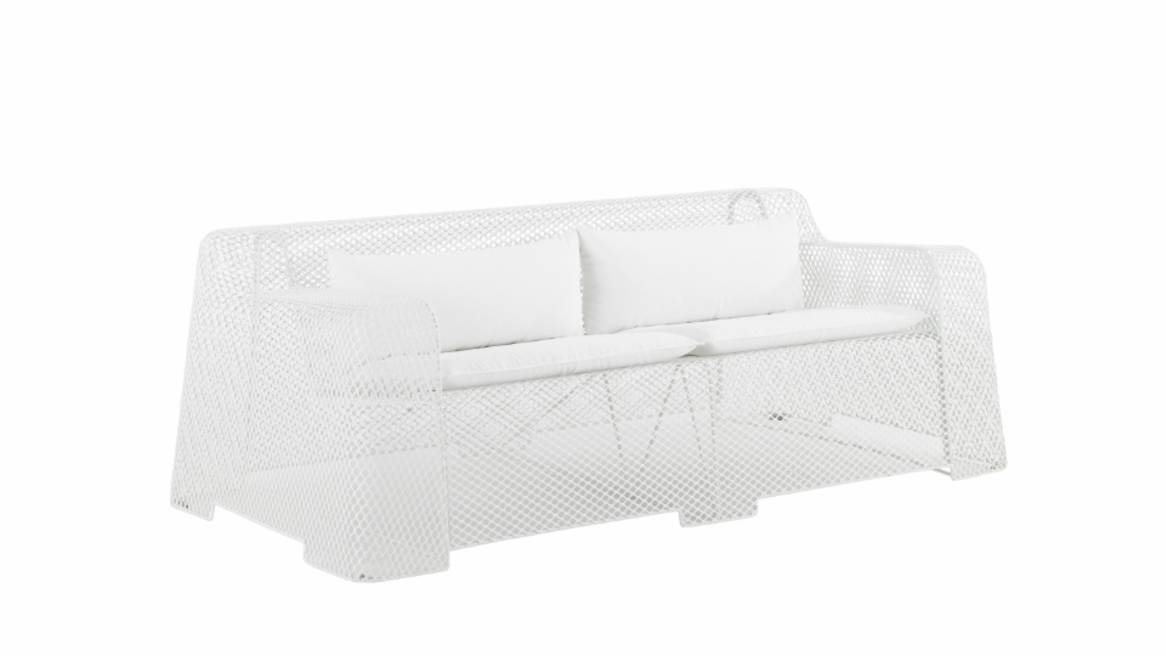 Angled view of Emu Ivy outdoor 2-seat lounge chair with cushions in white