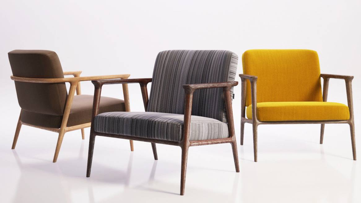 thee zio lounge chairs in different materials