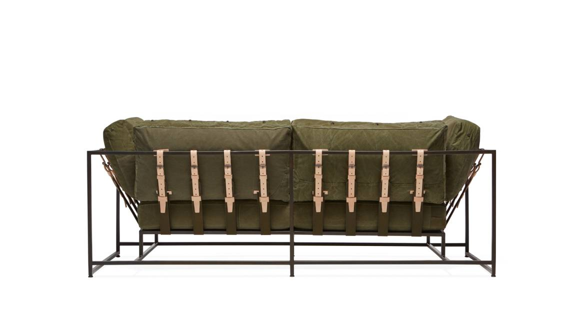 Military Canvas & Blackened Steel Two Seat Sofa