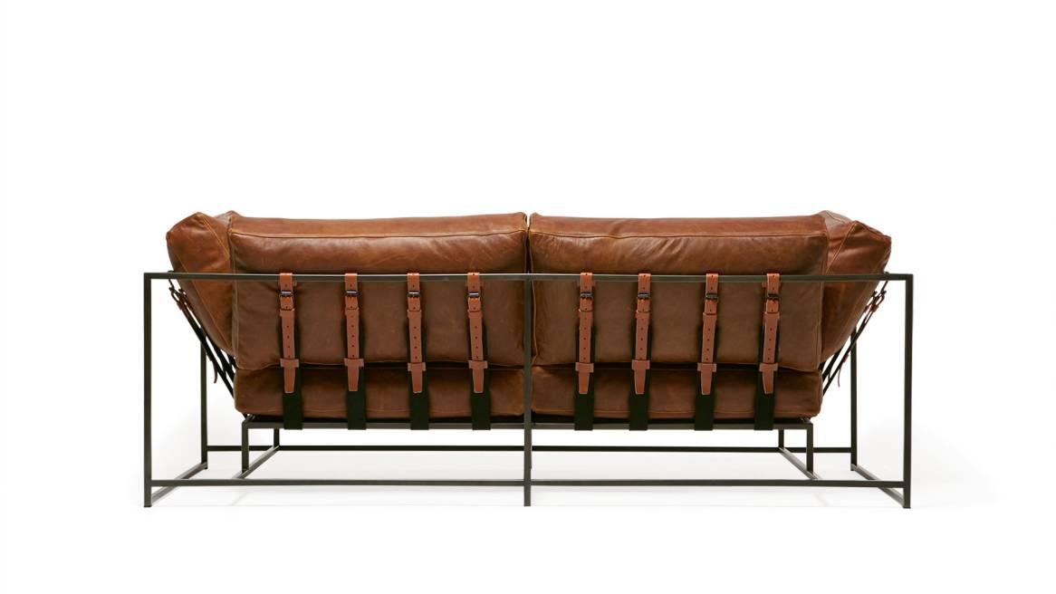Tan Leather & Blackened Steel Two Seat Sofa