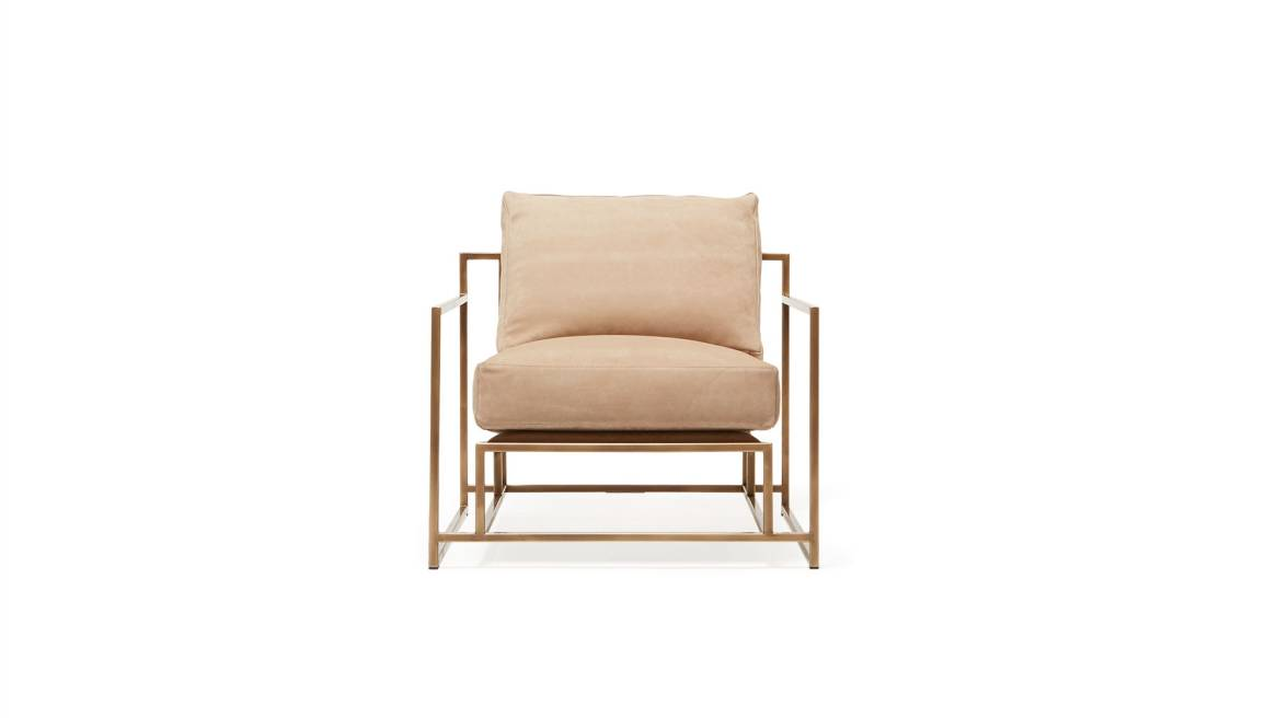 Taupe Nubuck Leather & Antique Brass Armchair