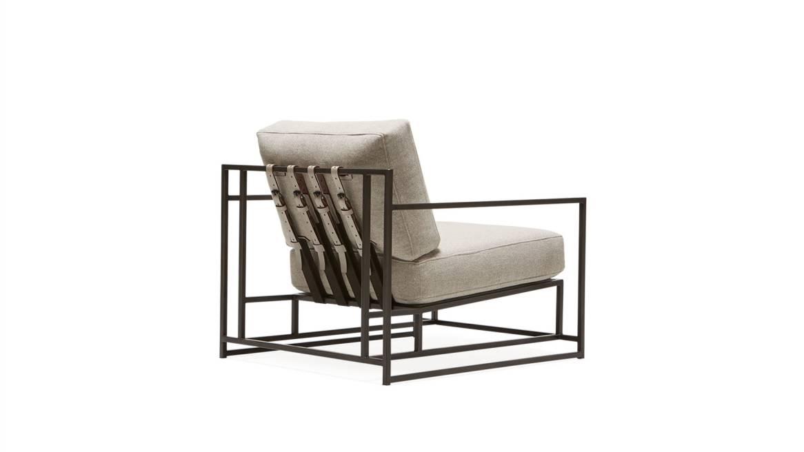 Grey Wool & Blackened Steel Armchair
