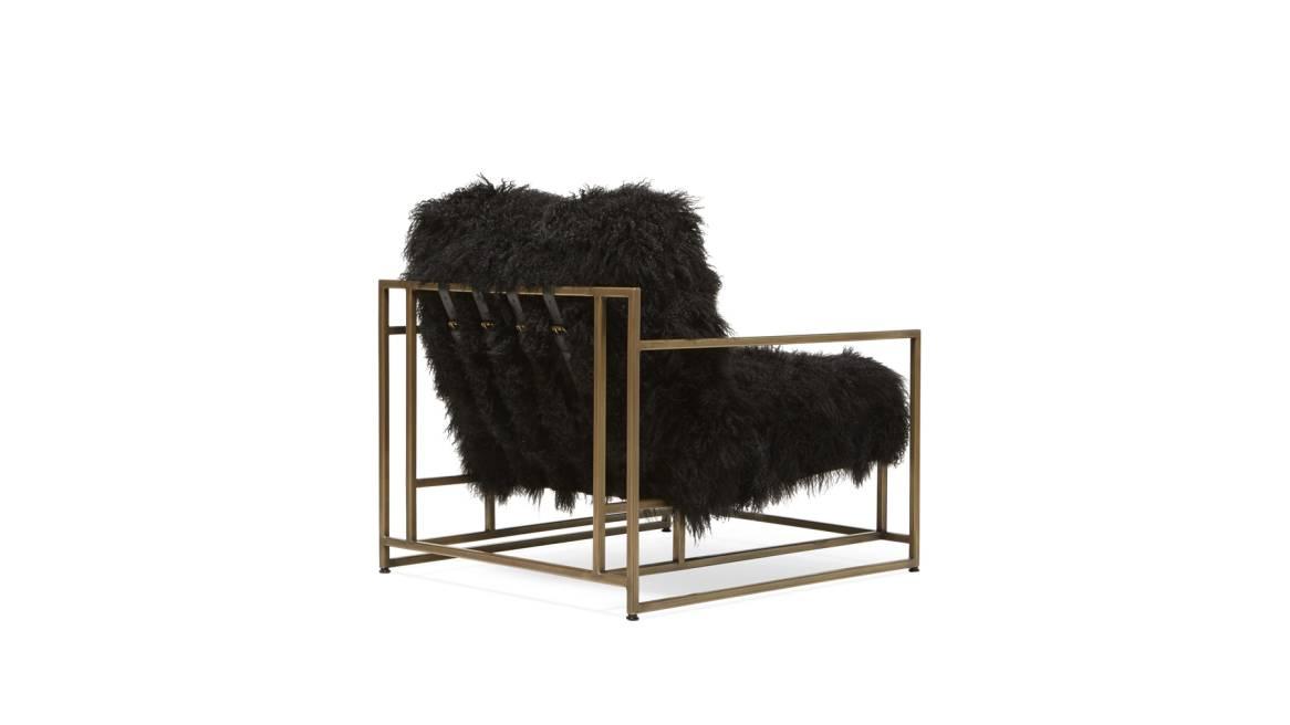 Black Sheepskin & Antique Brass Armchair