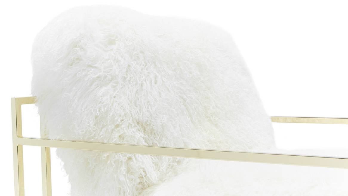 White Sheepskin & Polished Brass Armchair