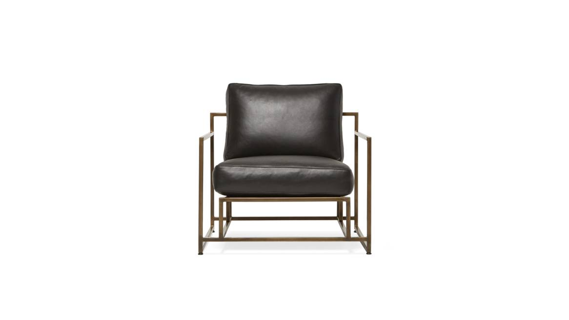 Obsidian Leather & Antique Brass Armchair